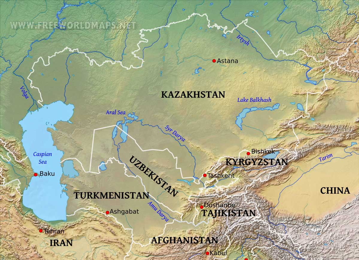 Geography Map Of Asia.Central Asia Physical Map