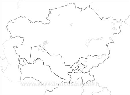 Central Asia Maps - Asia blank map