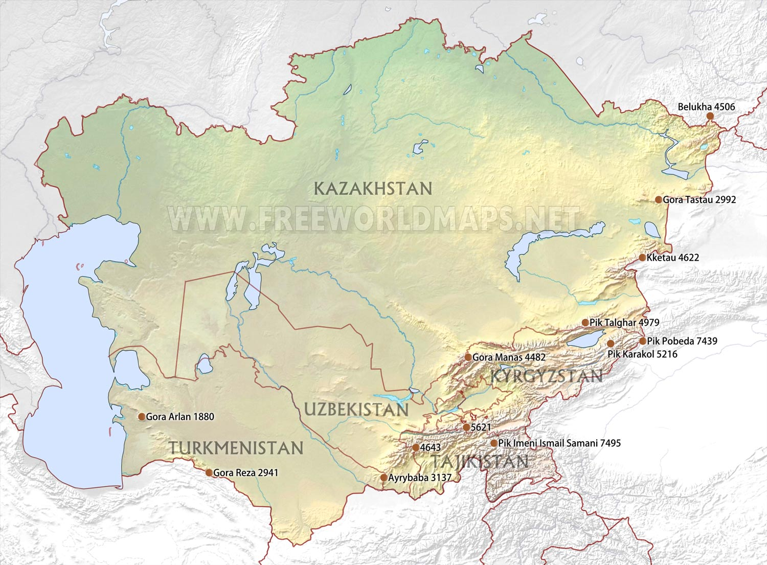 Central Asia Physical Map - Us physical map central lowlands