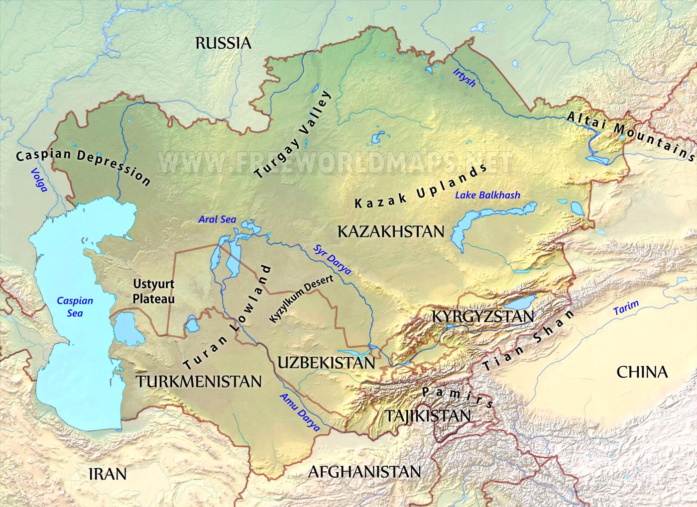 Central Asia Physical Map - Physical map of russia