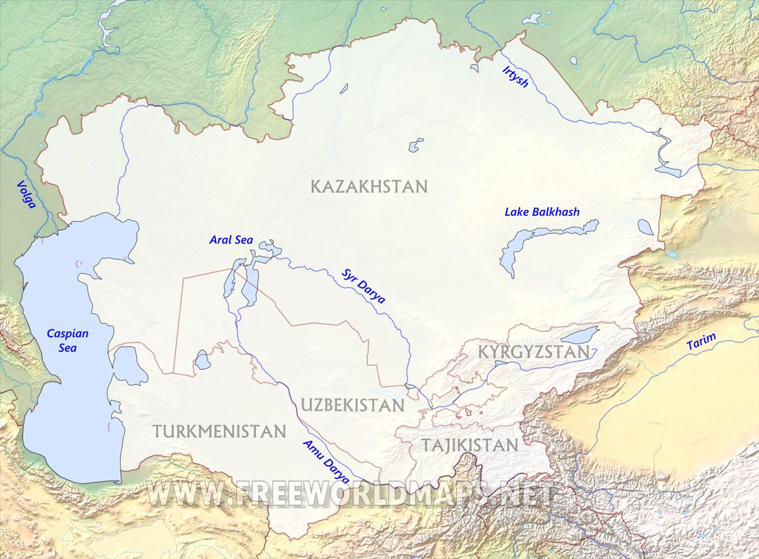 Central Asia Physical Map - Ob river on world map