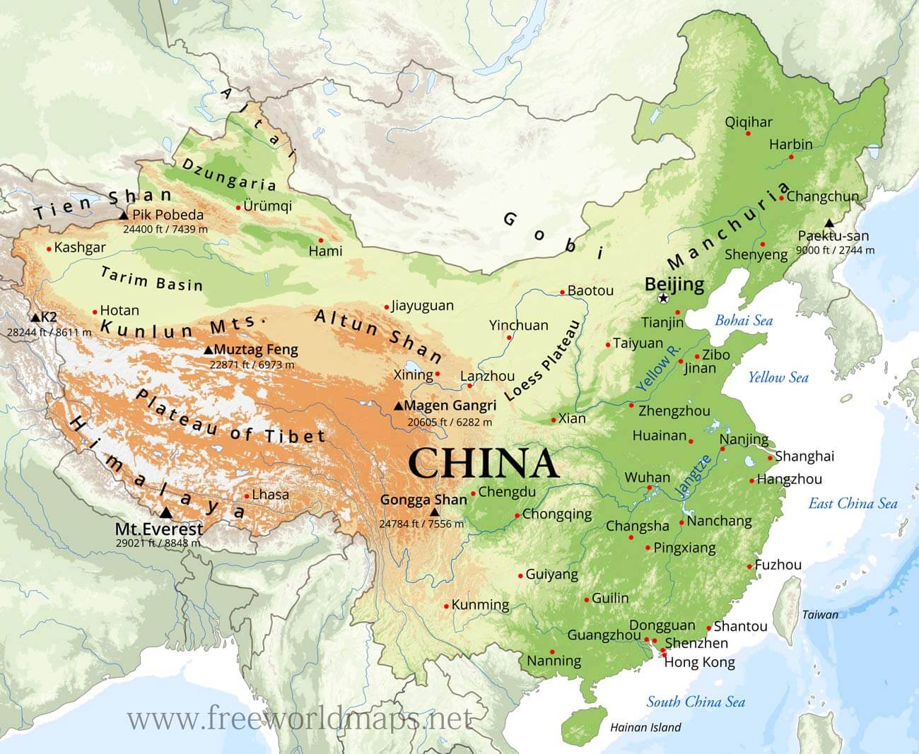 China Physical Map - China map
