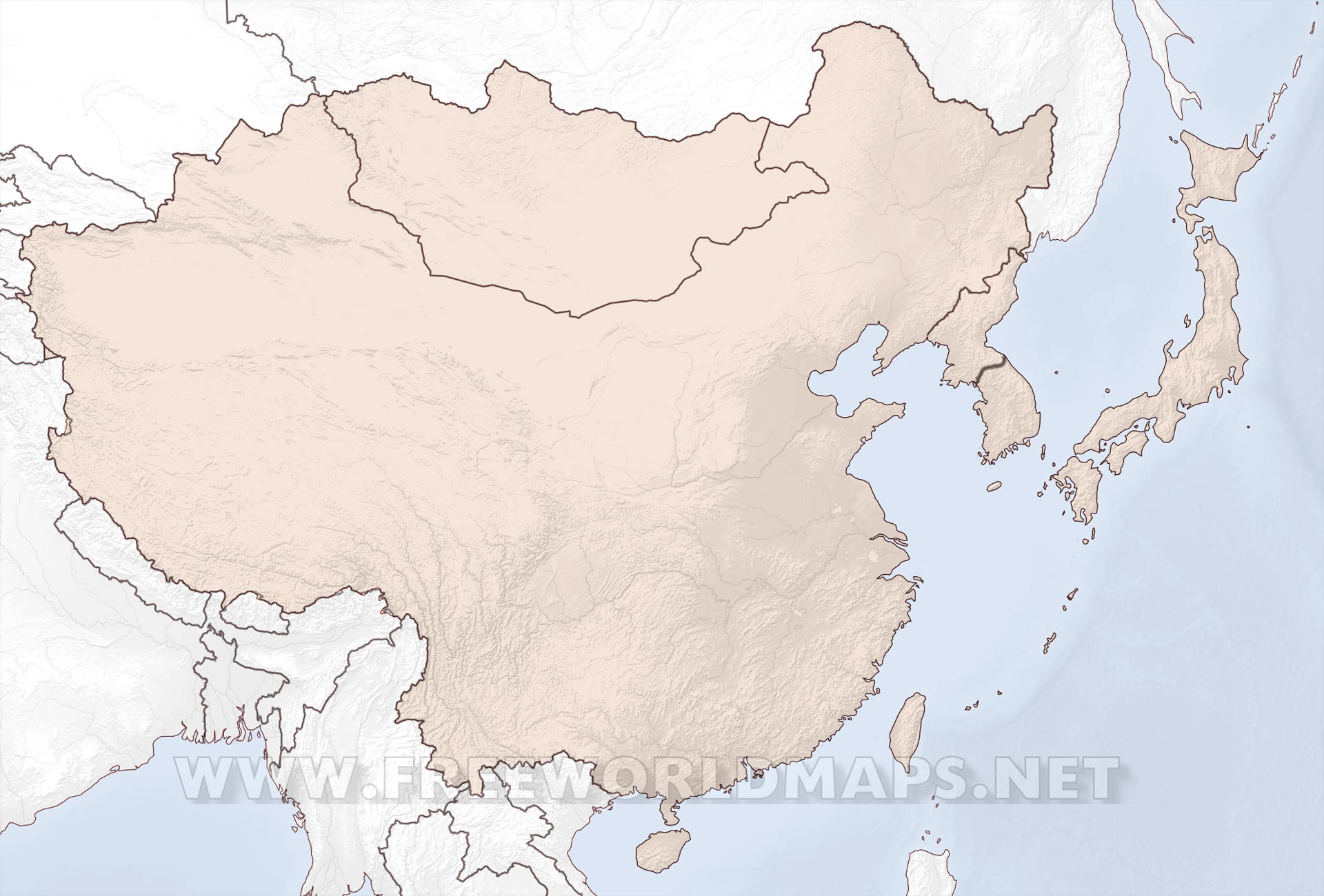 East Asia Maps - Asia blank map