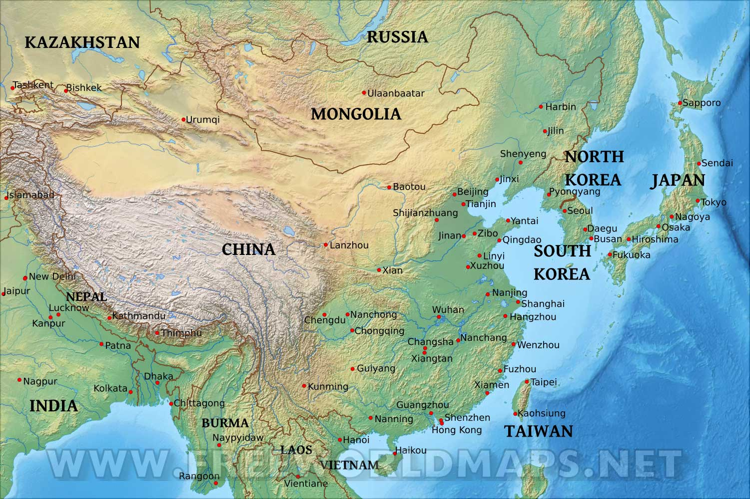 Geography Map Of Asia.East Asia Physical Map