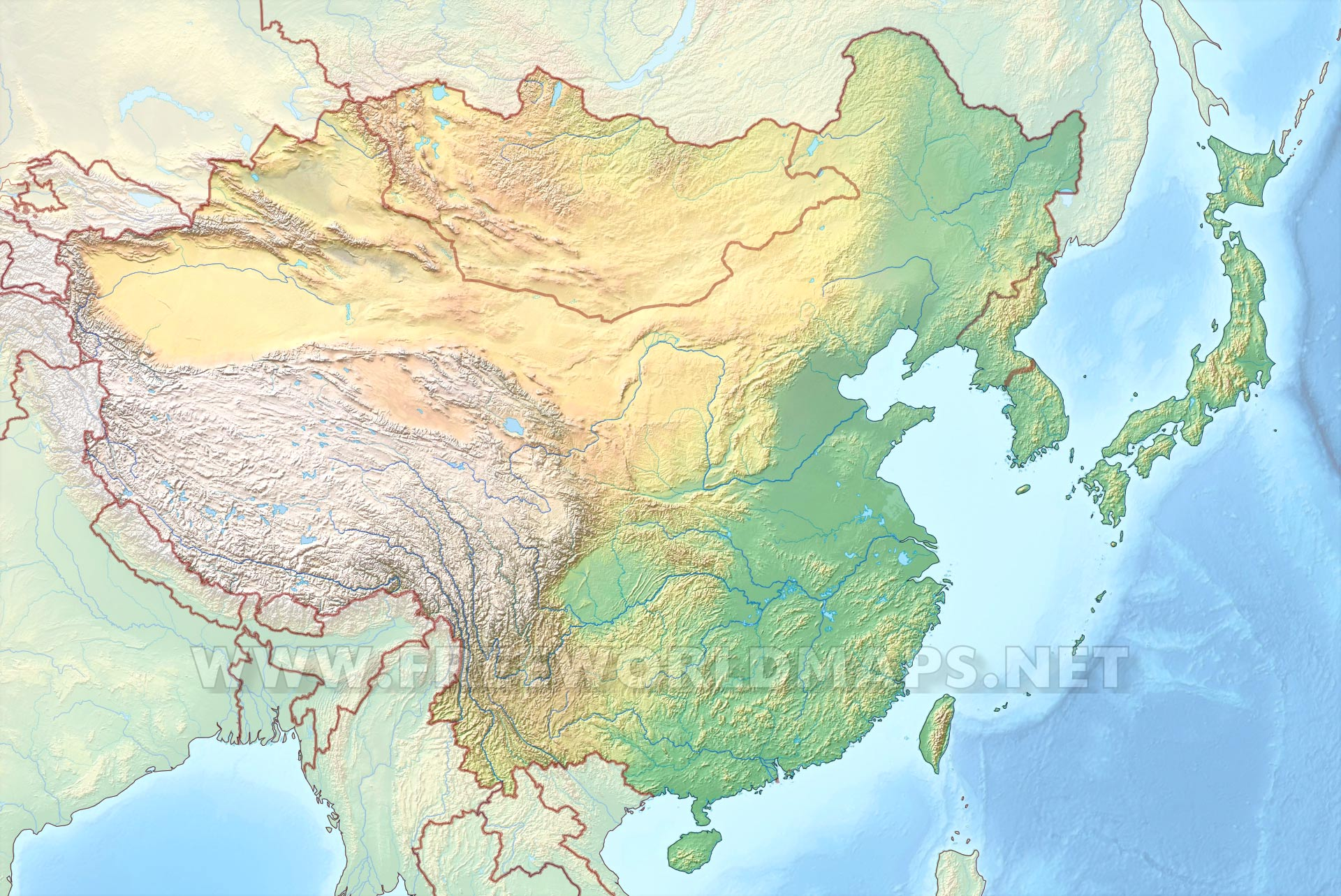 World Map Asia Hd.  East Asia HD map Physical Map