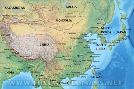 East Asia By Freeworldmapsnet - Asia physical map