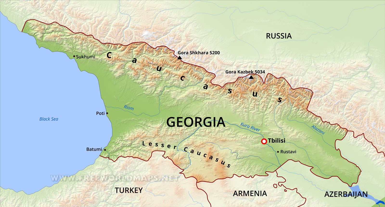 Georgia Physical Map - Georgia physical map