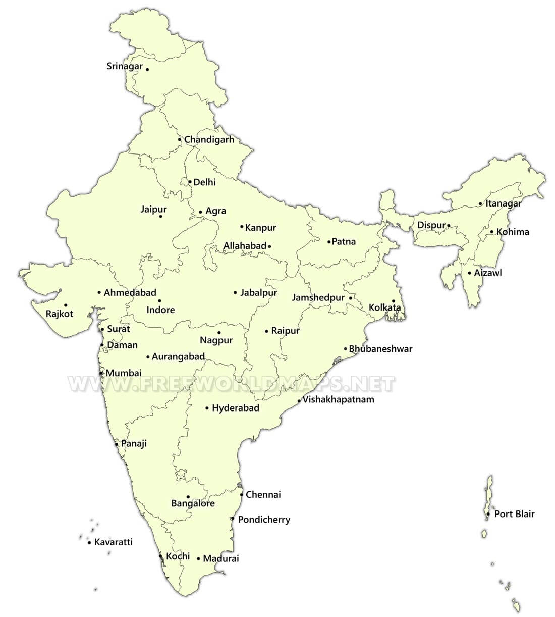 Marvelous India States Map   Showing The Administrative Divisions Of India India  Cities