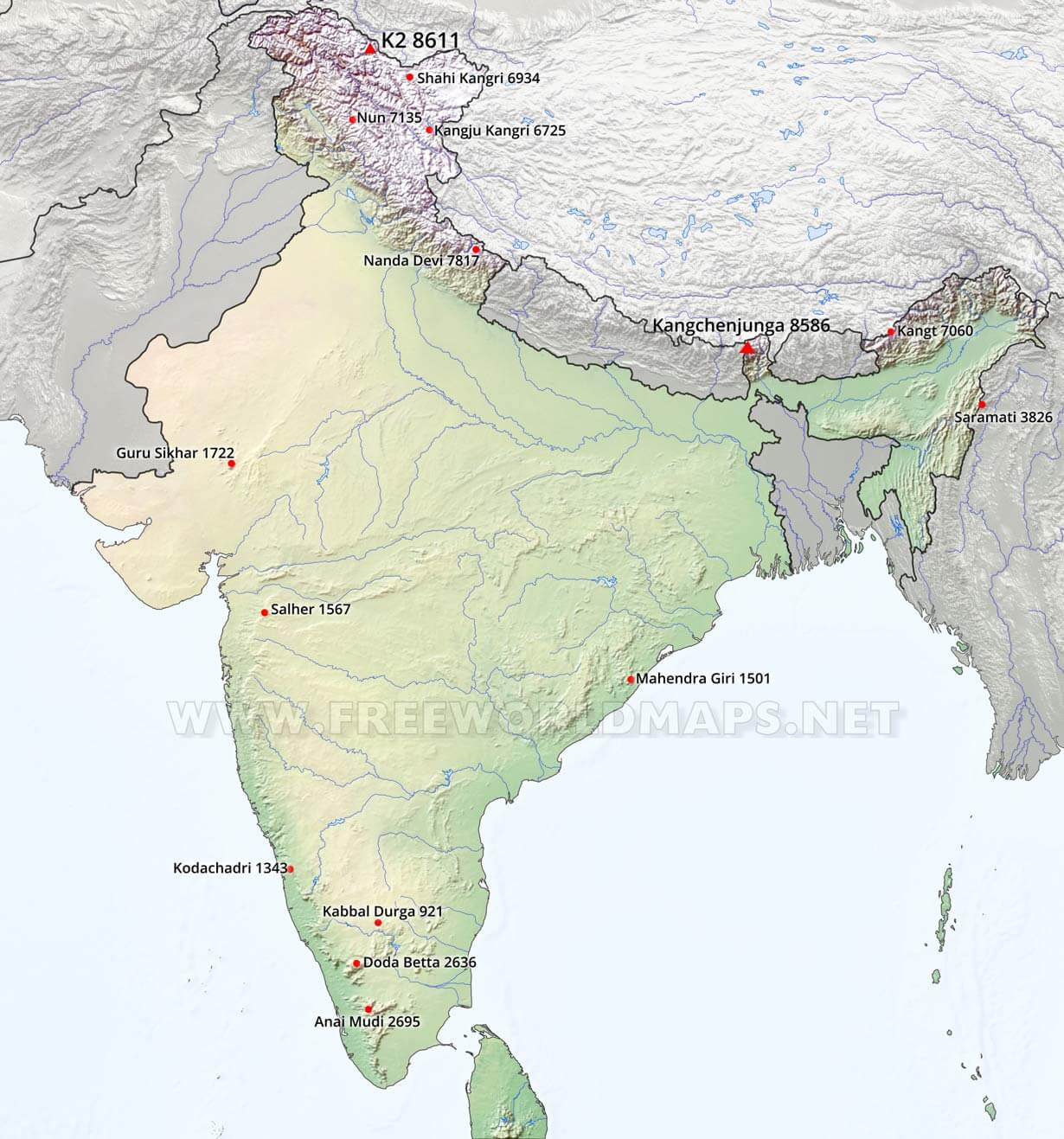 India physical map india mountains gumiabroncs Gallery
