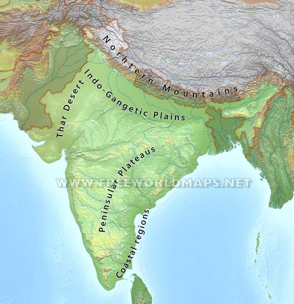 Plain Map Of India.India Physical Map