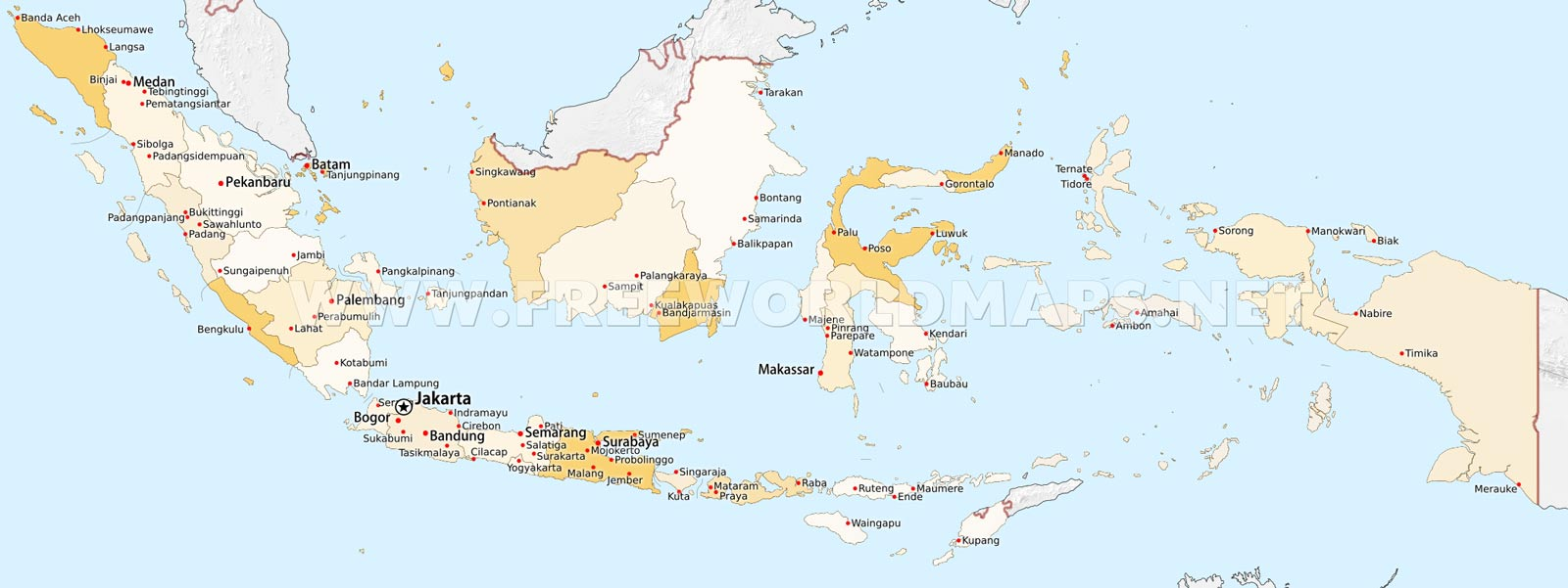World Map Around Indonesia. Indonesia physical map cities Maps