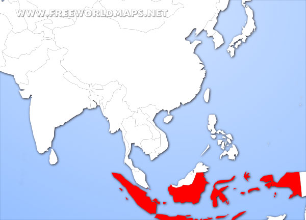 Where is Indonesia located on the World map?