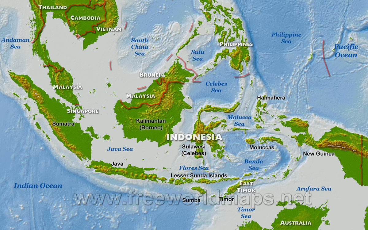 Physical map of Indonesia, equirectangular projection