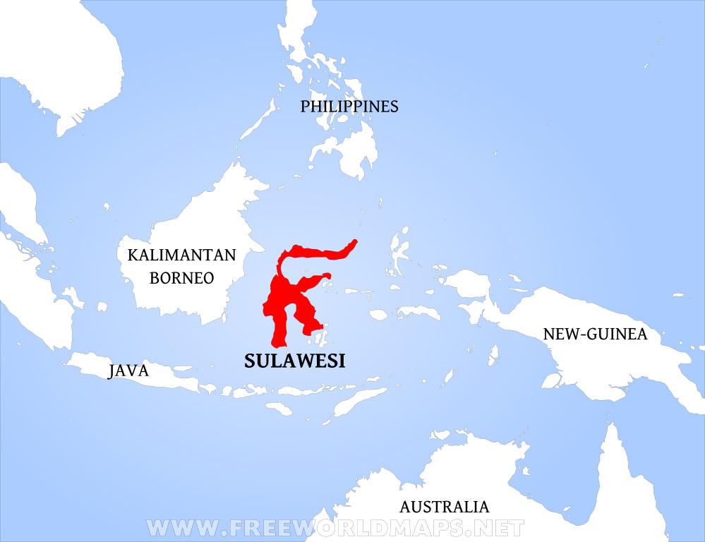 Sulawesi map fomerly Celebes