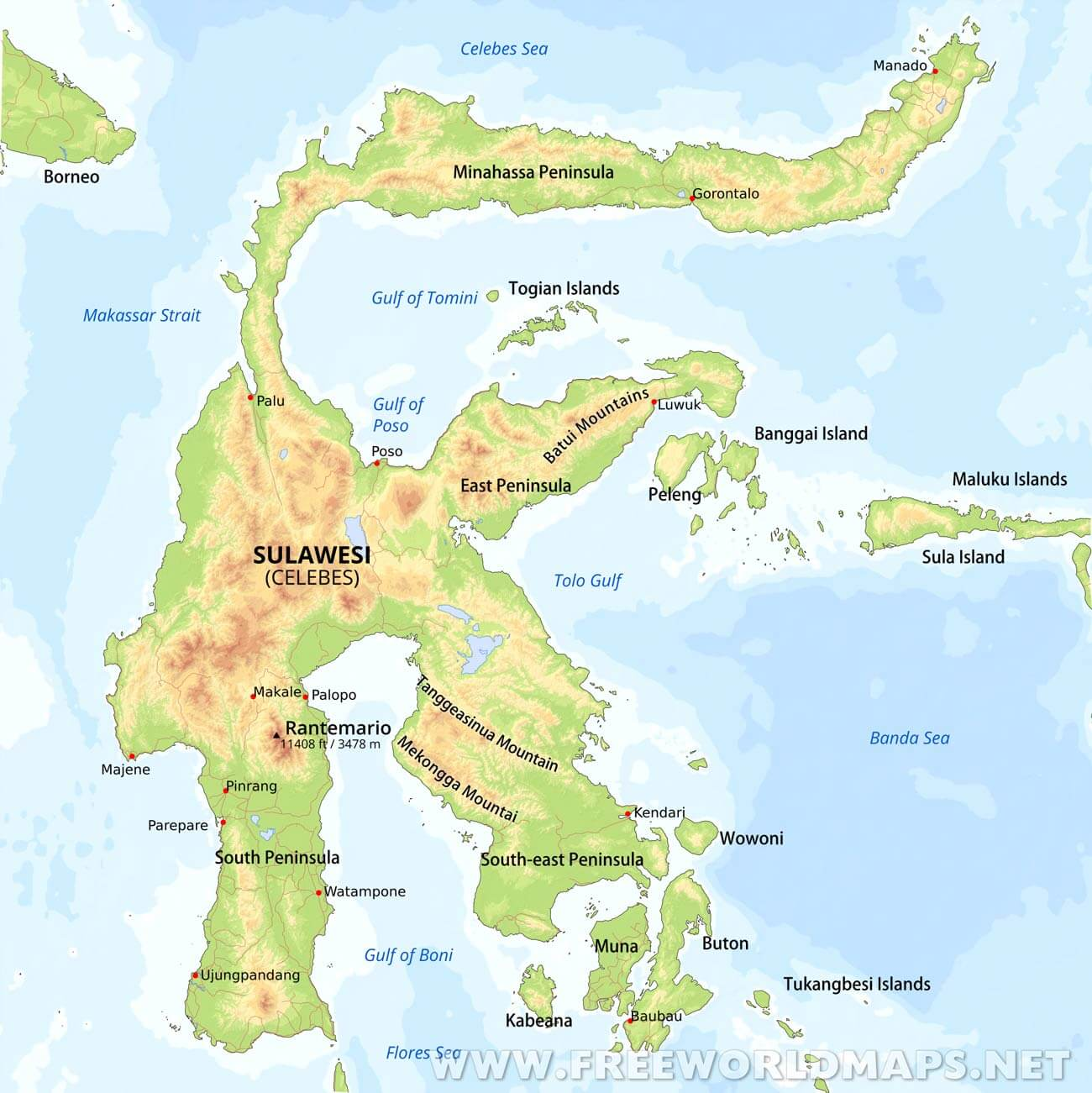 Map of Sulawesi (Indonesia) - Map in the Atlas of the World ...