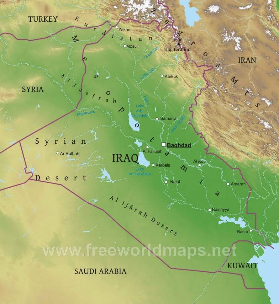 Iraq physical map gumiabroncs