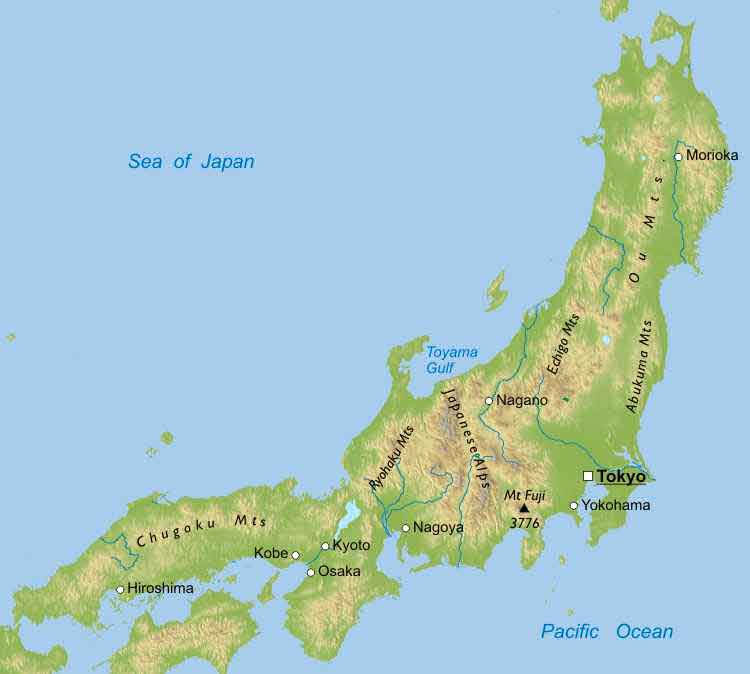 Maps Physical Map Japan - Montana blank physical map