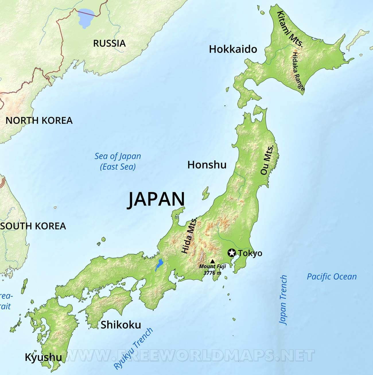 Japan Physical Map - Japan map fuji