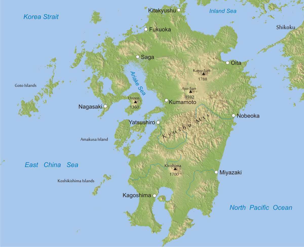Kyushu physical map japan physical map kyushu map gumiabroncs Image collections