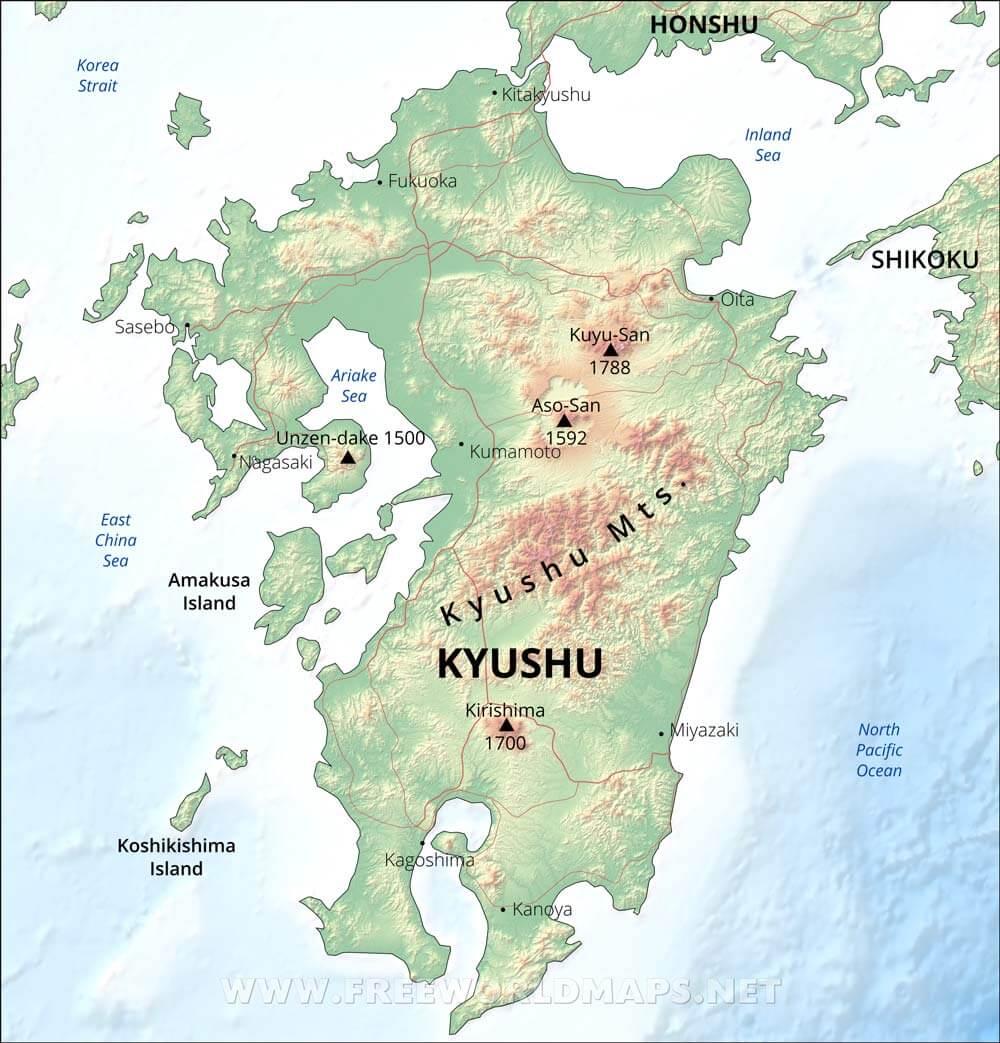 Kyushu Physical Map - Japan map kyushu