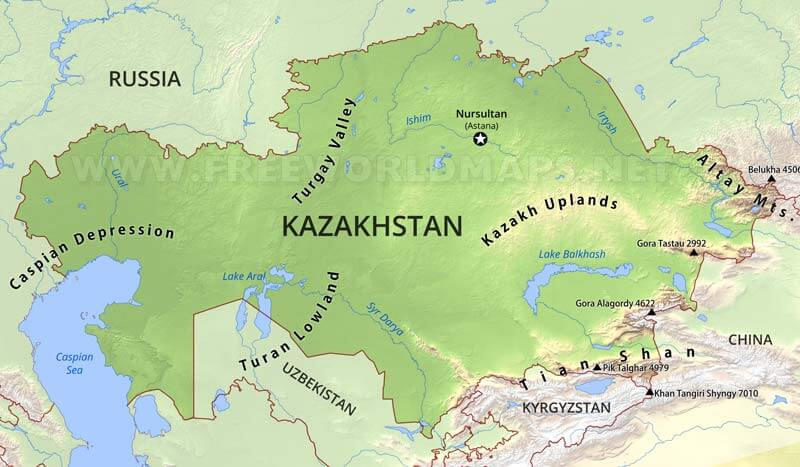 Physical map of Kazakhstan  equirectangular projectionUral Mountains Physical Map