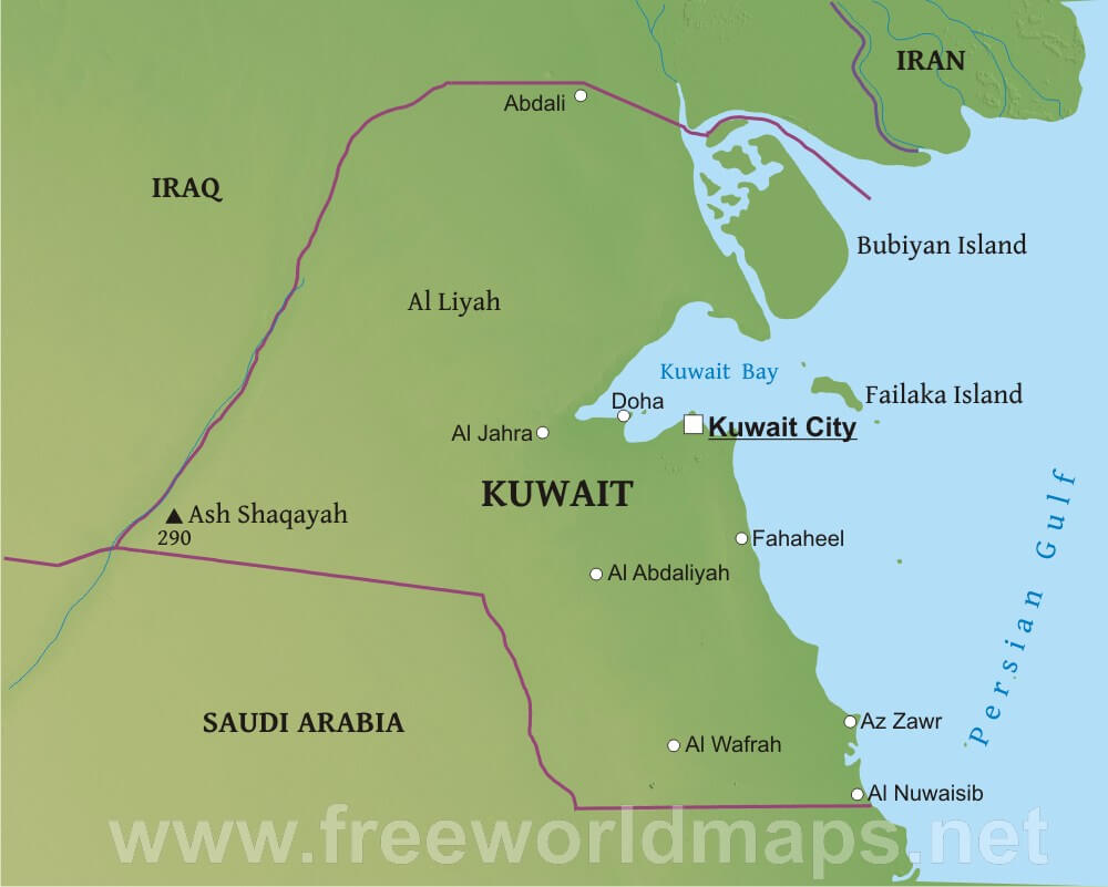 Kuwait Physical Map - Kuwait map