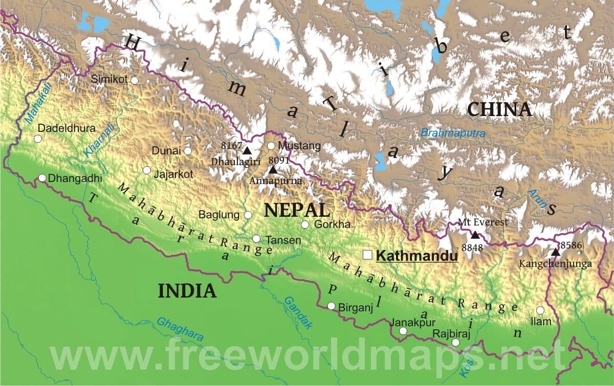 Nepal physical map nepal geographical features sciox Gallery