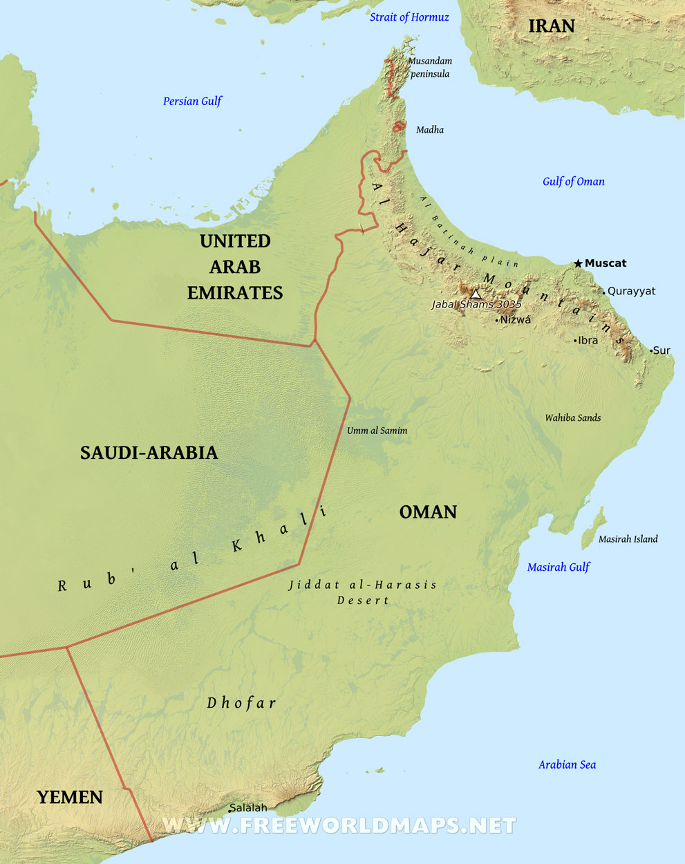 Oman Physical Map