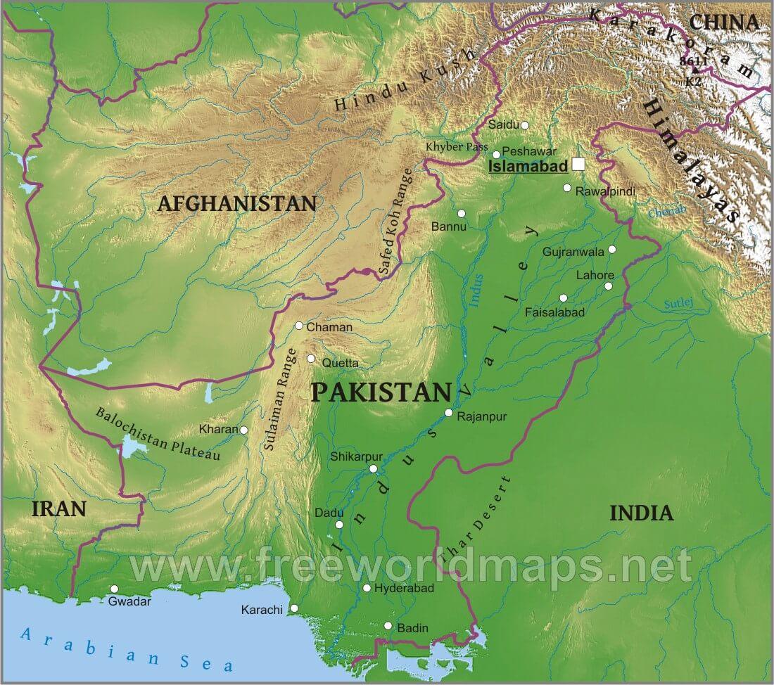 Pakistan Physical Map