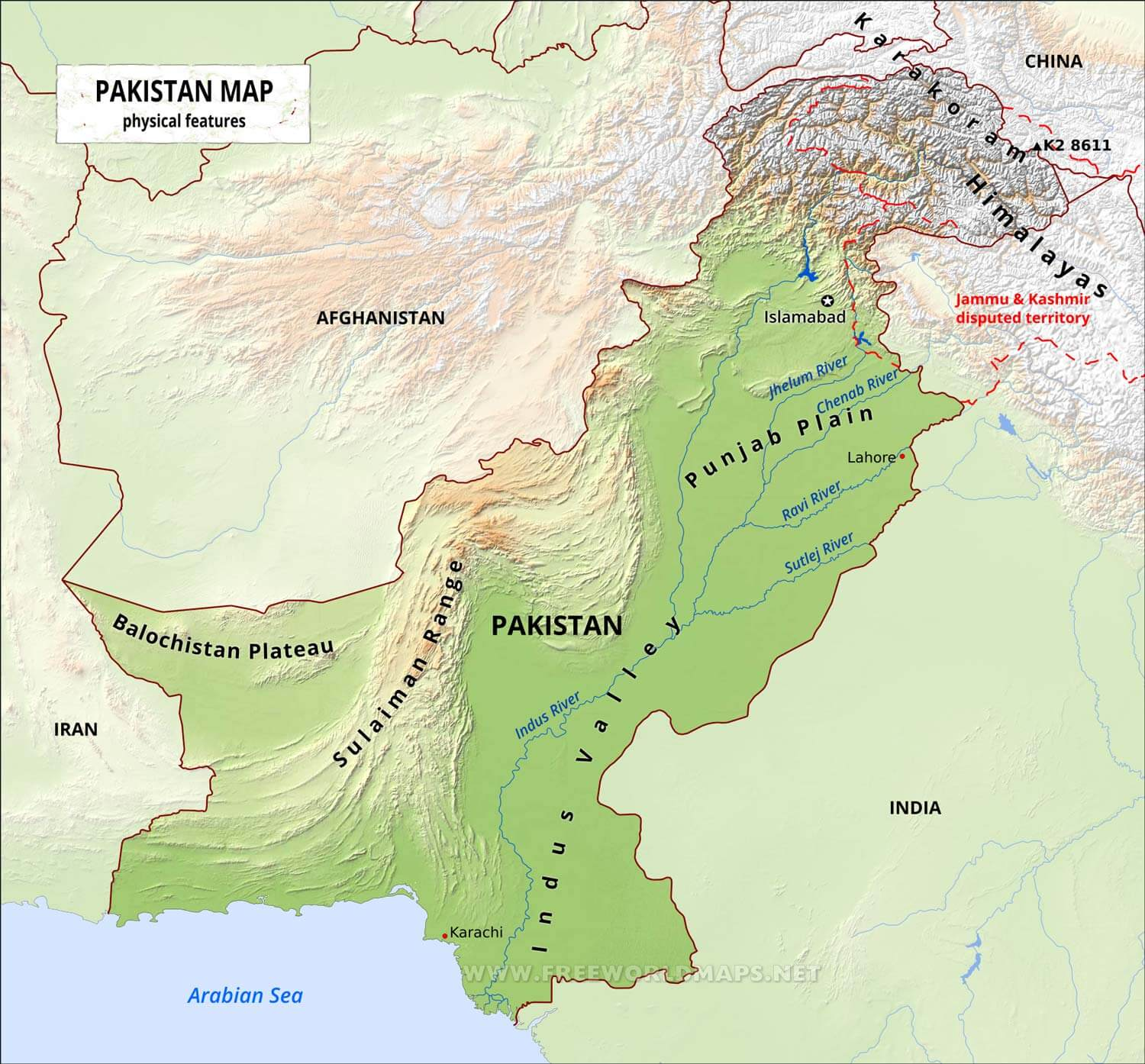 Pakistan Physical Map - Map pakistan
