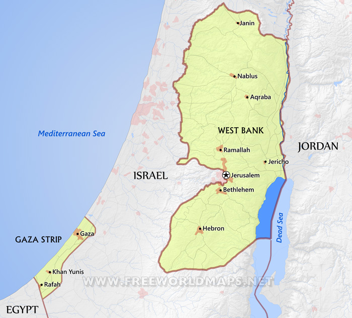 Blank Physical Map Of Middle East Palestine Maps - by Fr...