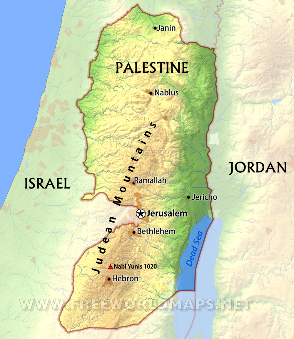 West Bank Map - Palestine location