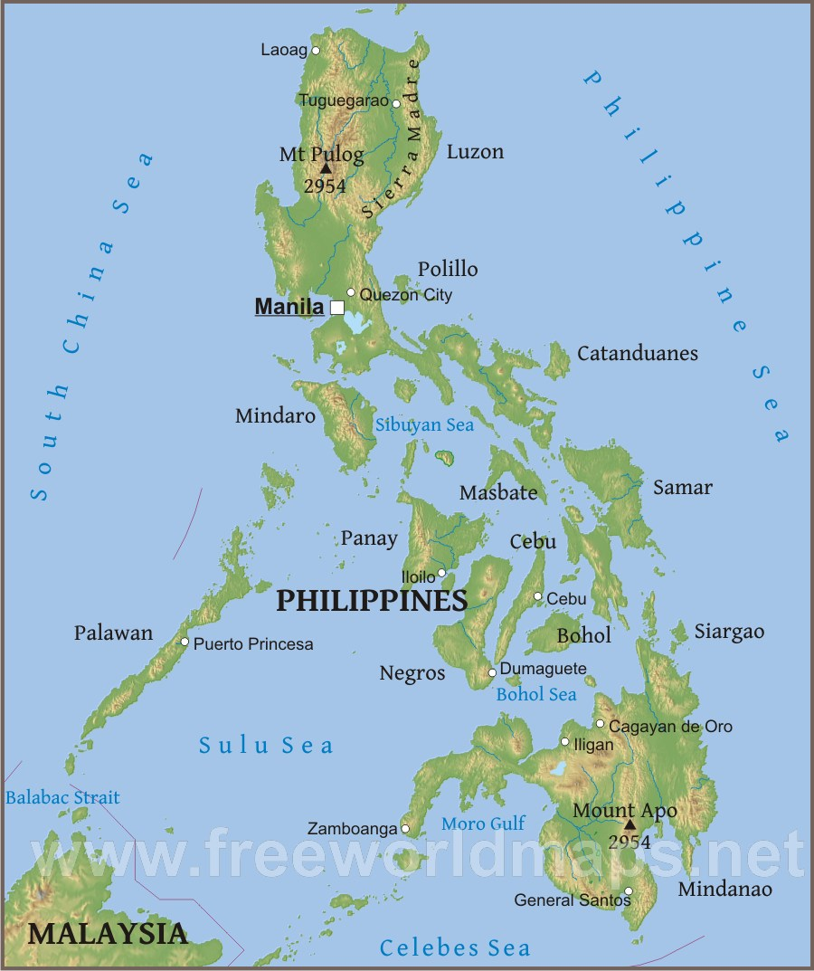 Philippines Physical Map - Where is philippines