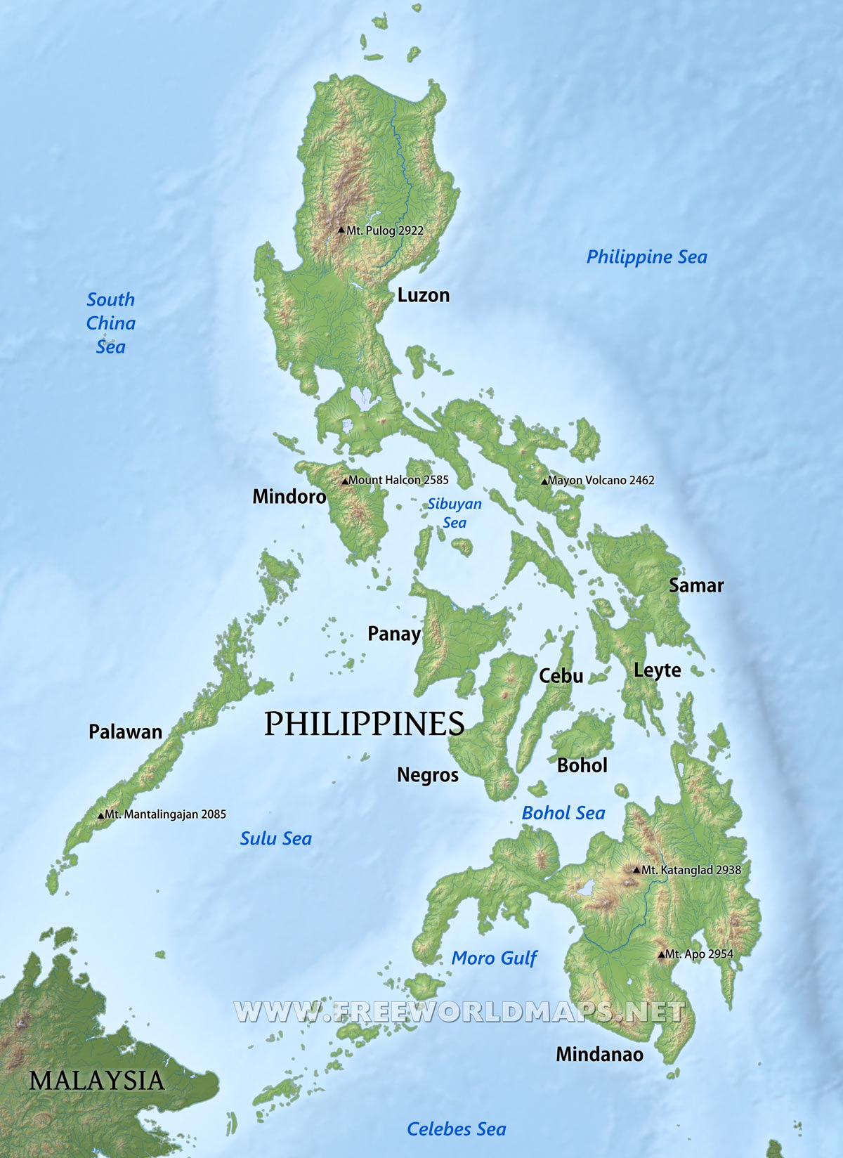 . philippines physical map