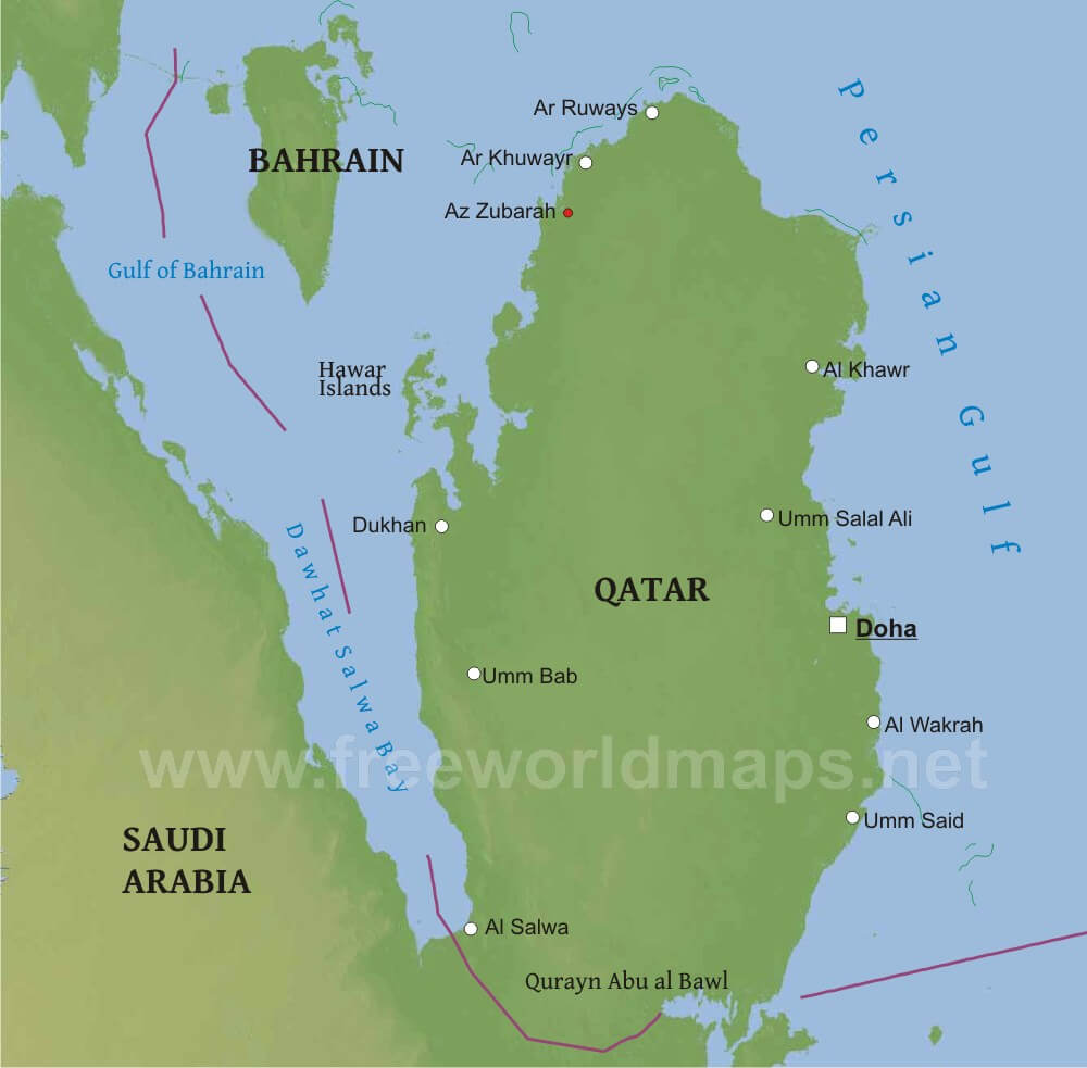 Qatar Physical Map
