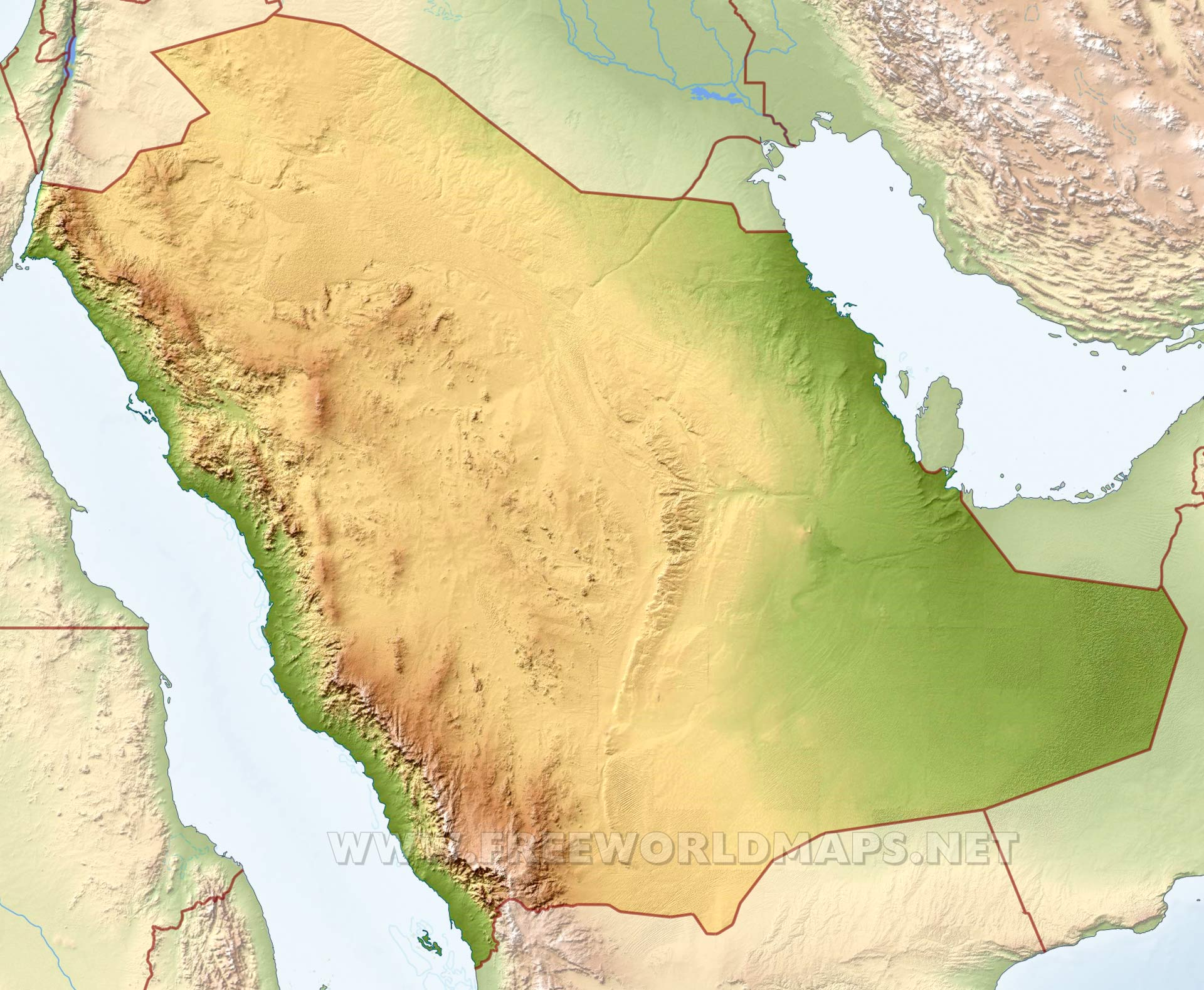 Saudi Arabia Physical Map
