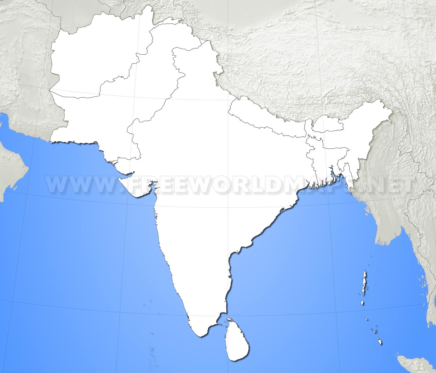 ... South Asia Blank Map HD