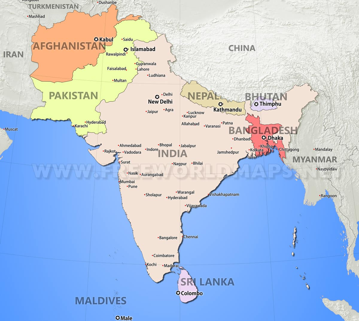 South Asia Maps – The Map of South Asia