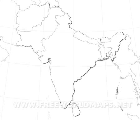 South Asia Maps - Outline map of south asia