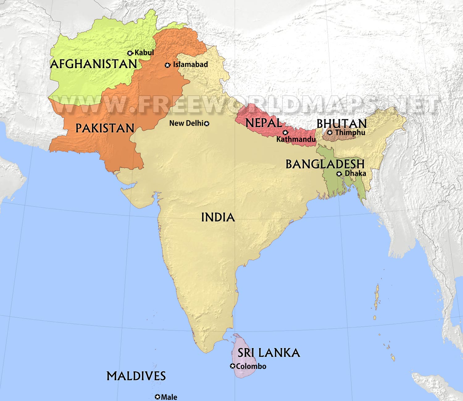 South Asia by Freeworldmapsnet