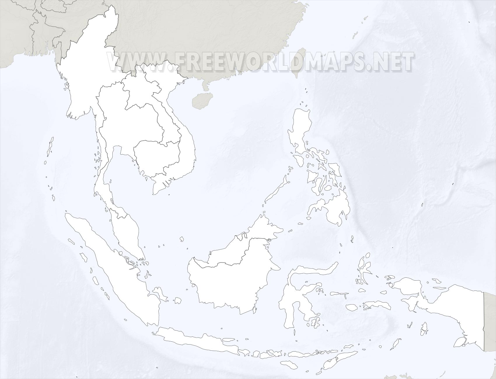 SouthEast Asia Maps - Blank map of us southeast region