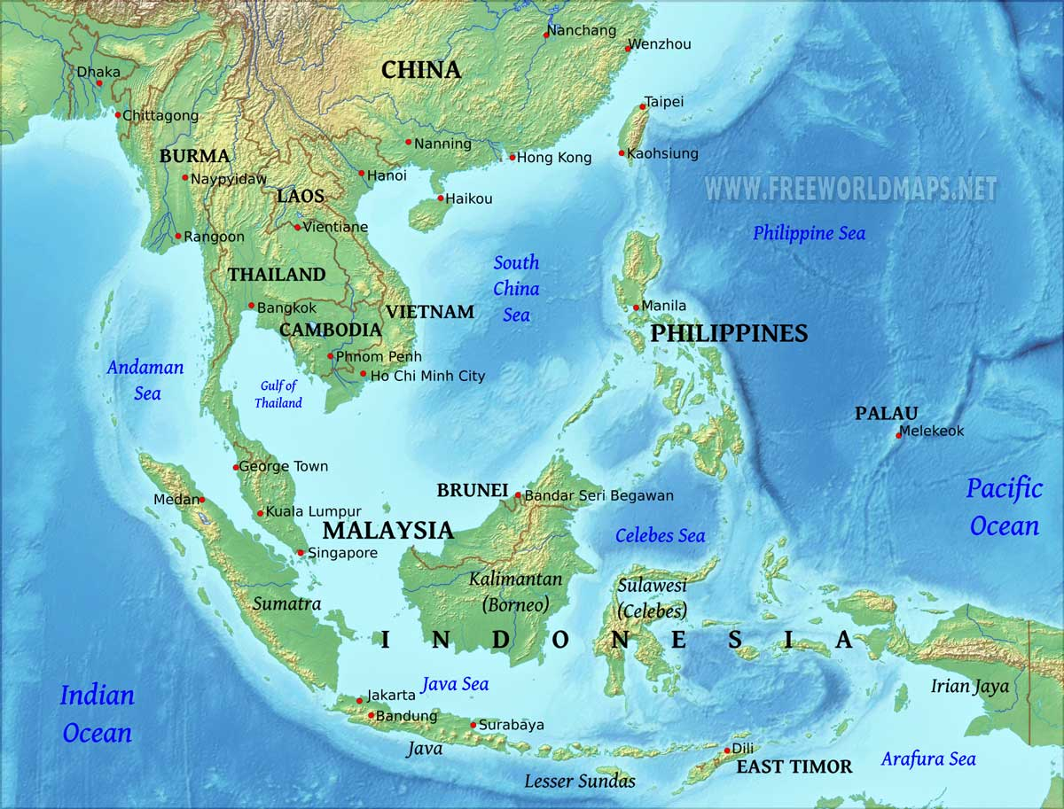 Geography Map Of Asia.Southeast Asia Physical Map