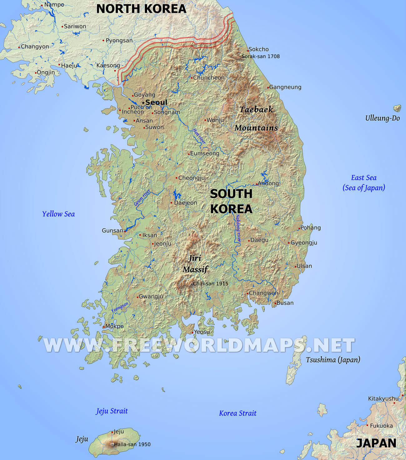 South koreag south korea outline map south korea topography topography of gumiabroncs Images