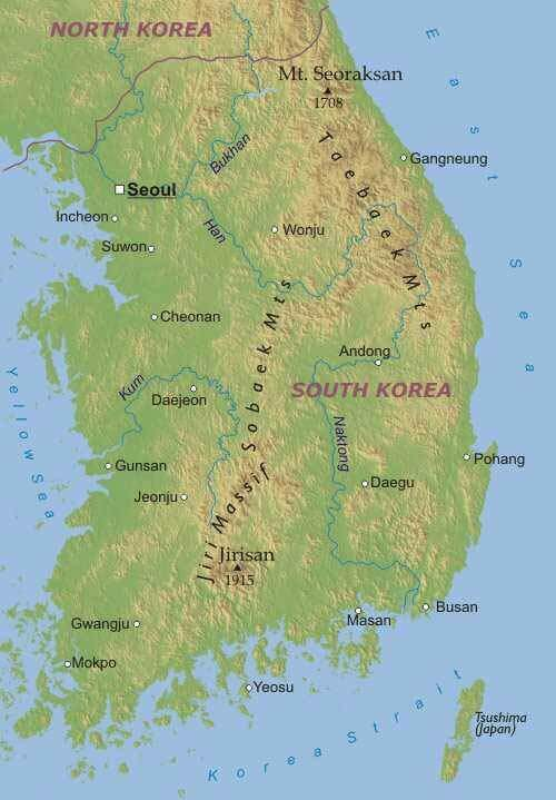 a geography of south korea Korea's geography land territory south korea along is about the size of hungary (93,000 square kilometers) and jordan (97700 square kilometers.