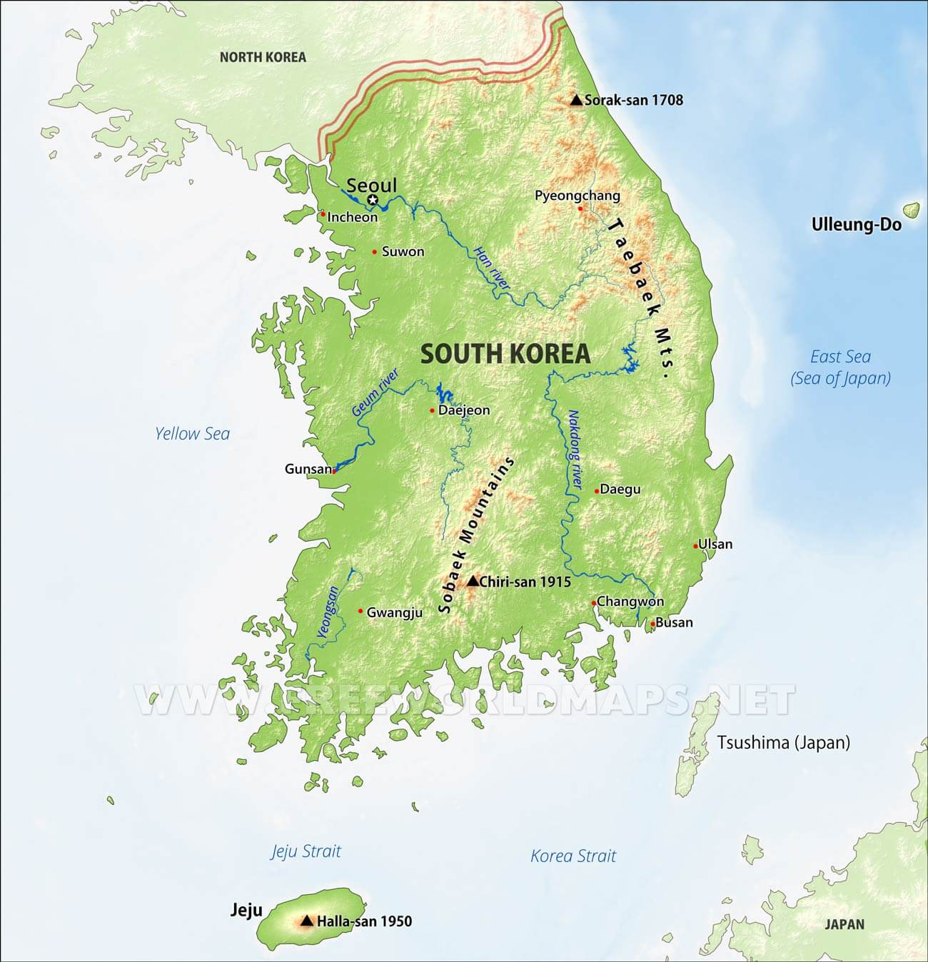 South Korea Physical Map - Map of south korea
