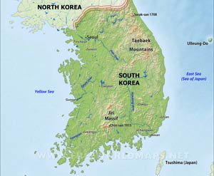 South korea maps south korea physical map gumiabroncs Images