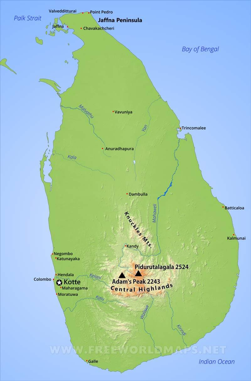 Sri Lanka Physical Map