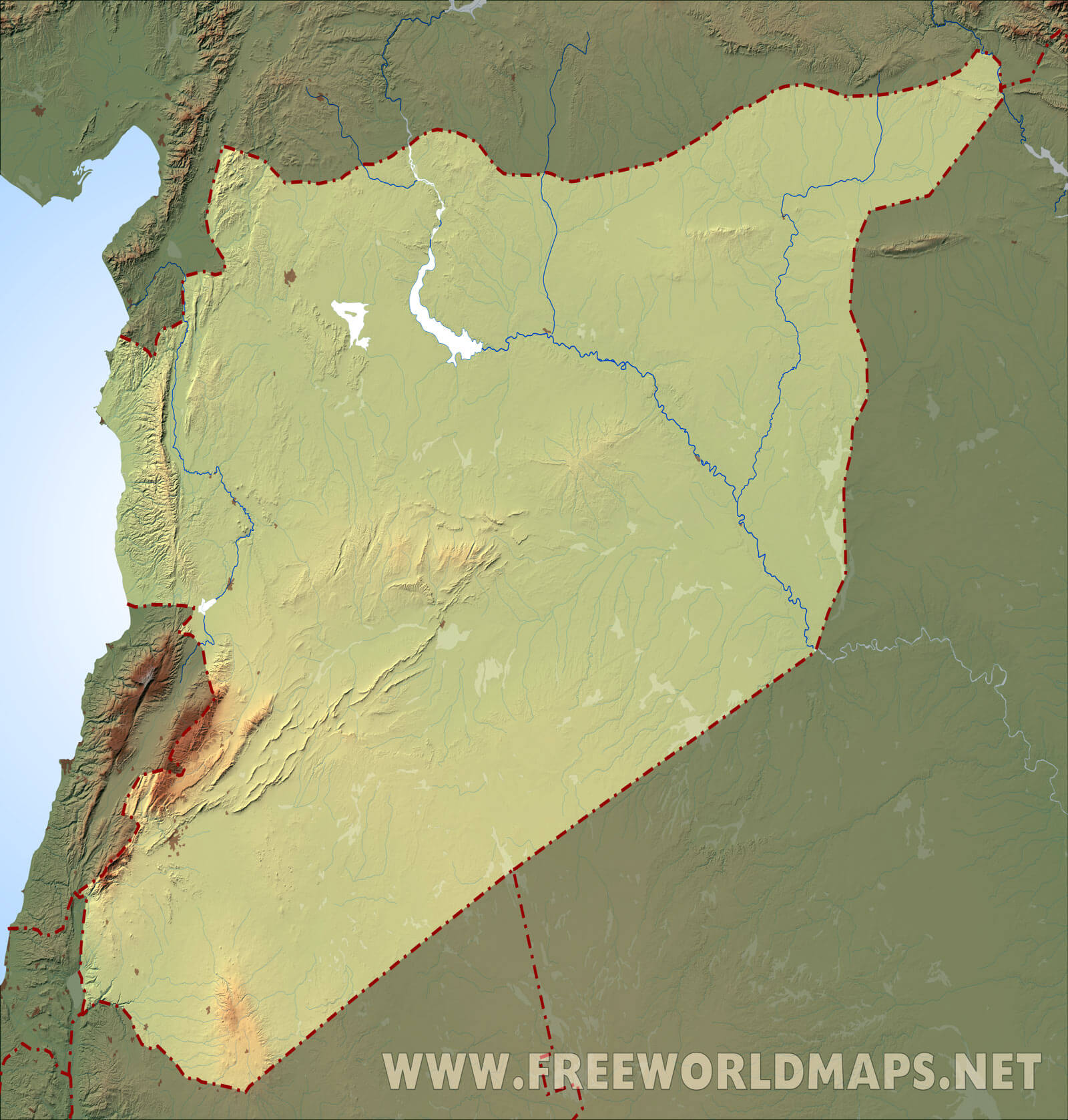 Syria physical map blank relief map of syria including topography and rivers gumiabroncs Images