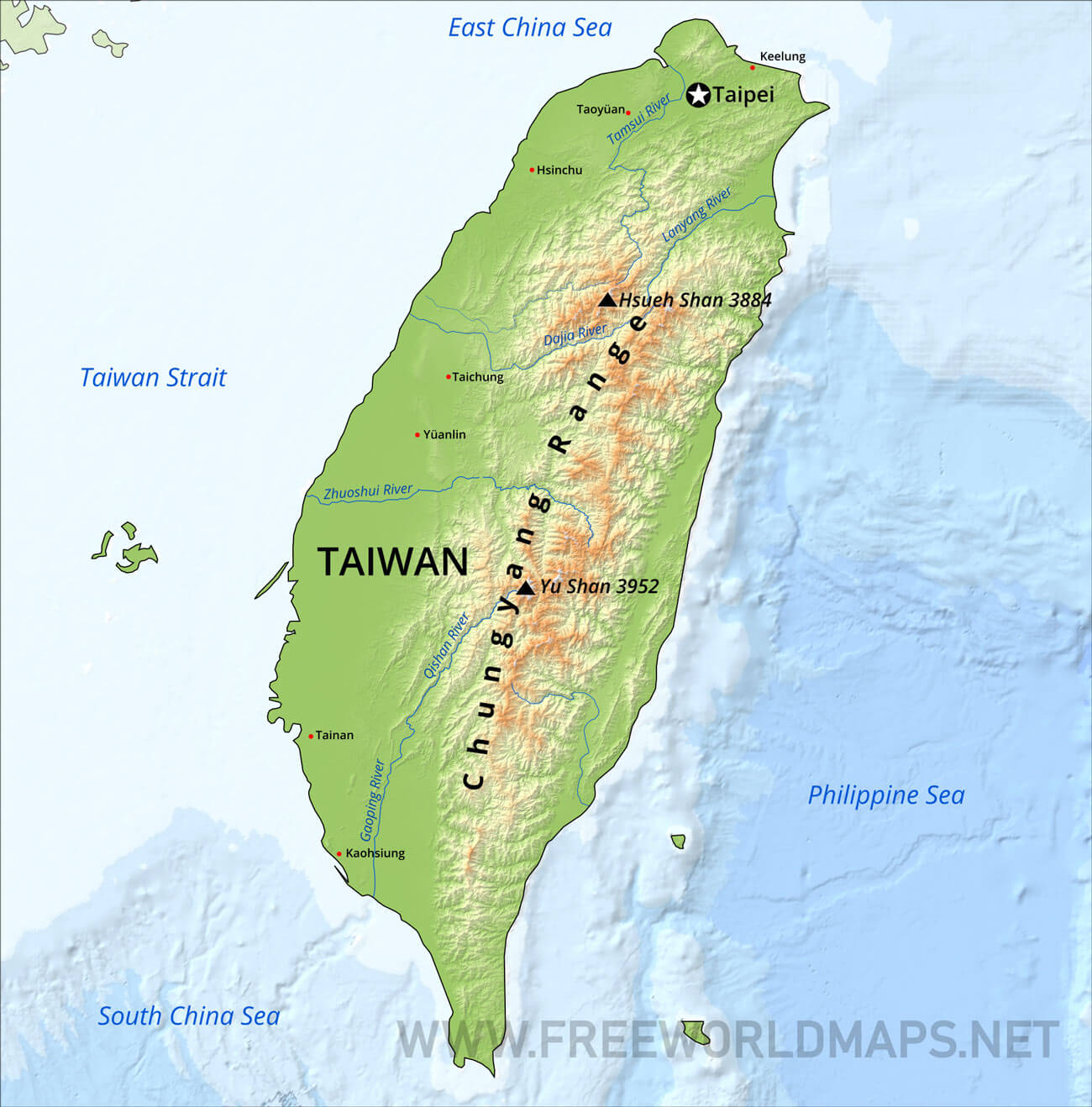 Taiwan Physical Map