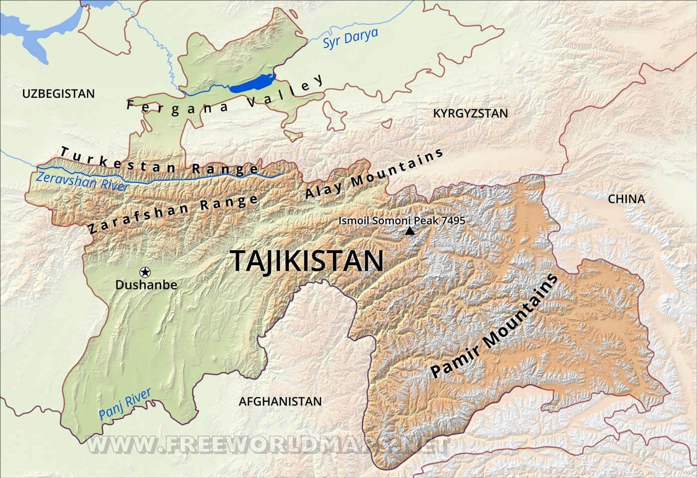 Tajikistan Physical Map